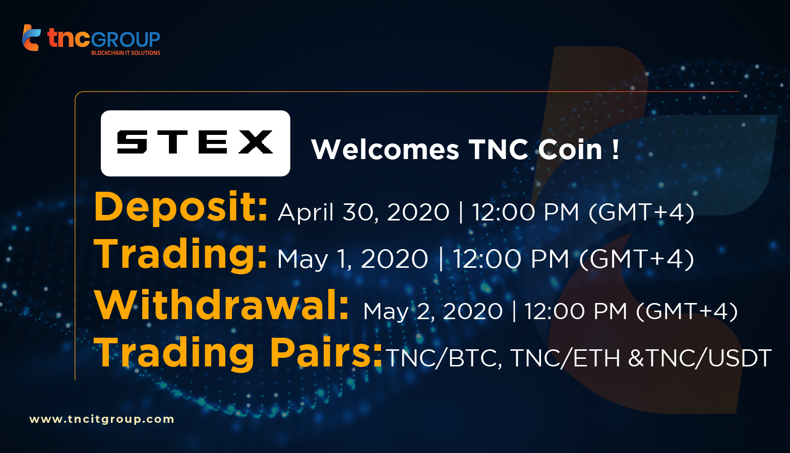 STEX welcomes TNC Coin