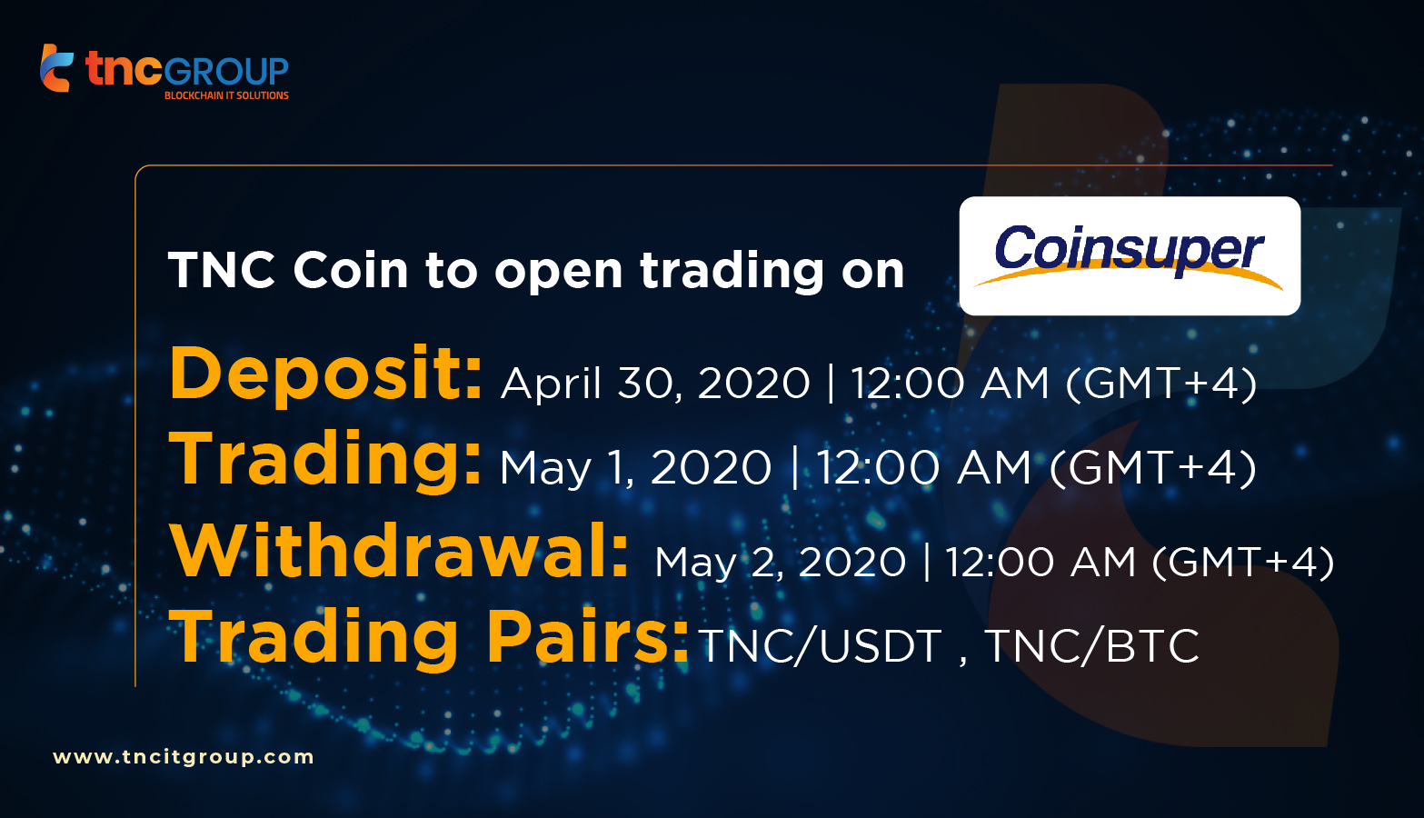 TNC Coin to open trading on Coinsuper